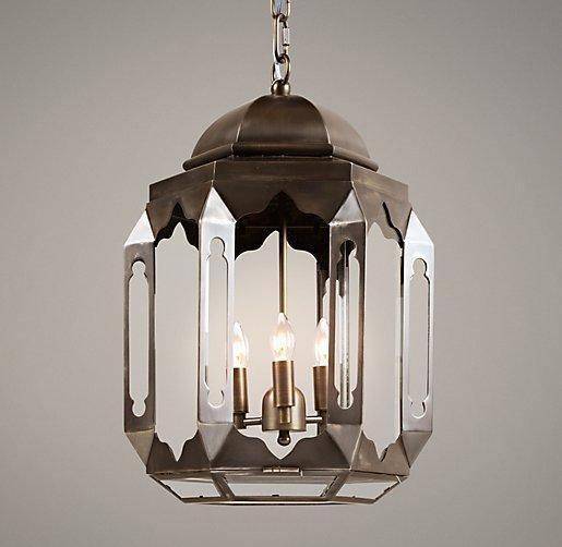Moroccan Lantern Metalic Silver Tin Pendant Moroccan
