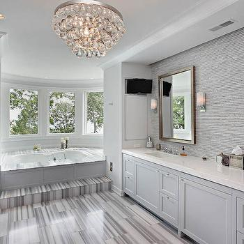 White And Gray Striped Marble Bathroom Tiles