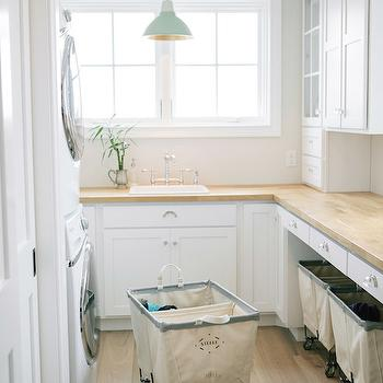 Vintage Laundry Room With Mint Green Cabinets Vintage