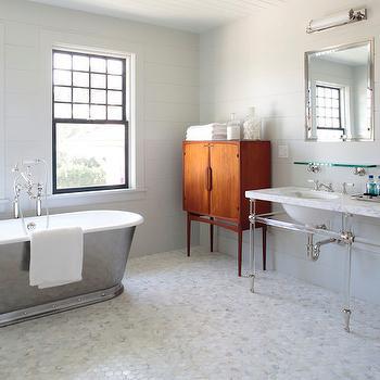 Lucite Double Vanity, Transitional, bathroom, Dan Scotti Design