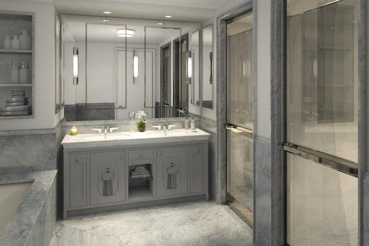 gray master bathroom contemporary bathroom corcoran