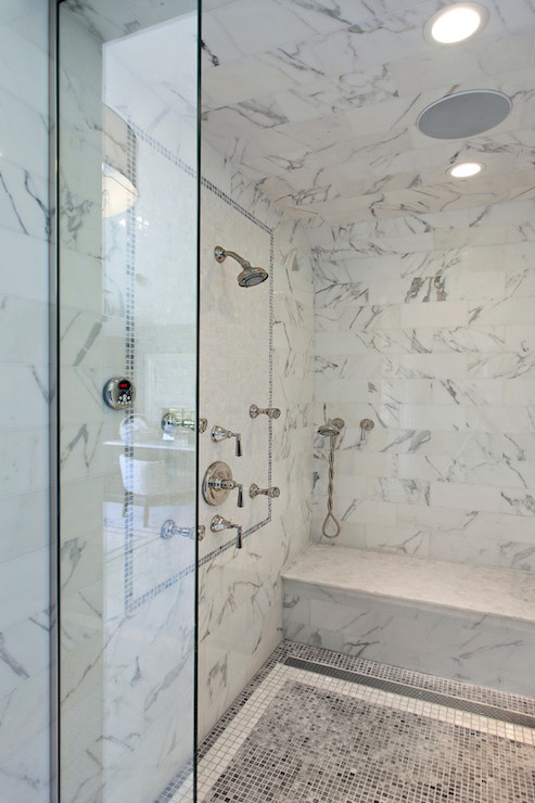 Gray Marble Tiles - Transitional - bathroom - 2 Design Group
