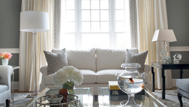 Ivory And Gray Living Room With Sash Windows Framed By Drapes Accented Mary McDonald Malmaison Tape Trim Against Walls