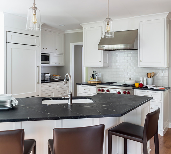 Welcoming White Kitchen Is Illuminated By Regina Andrew: Kitchen Island Peninsula Design Ideas