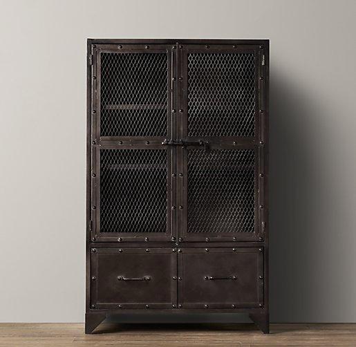 Vintage Industrial Grey Steel Cabinet