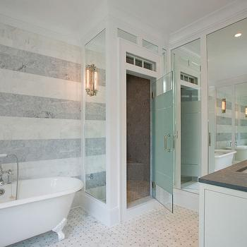 White And Gray Striped Bathroom Walls Design Ideas