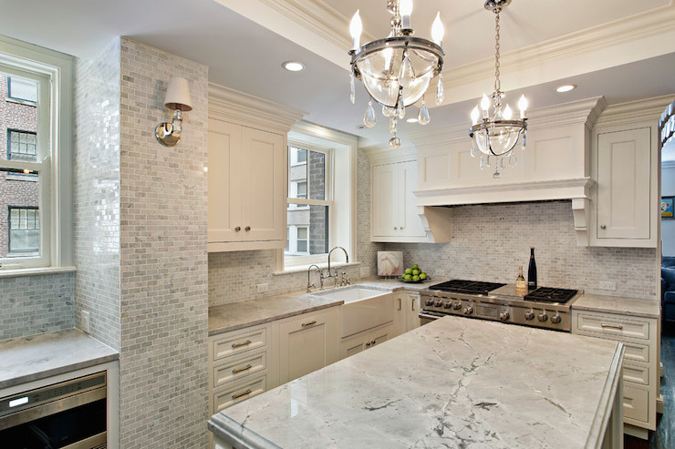 White Macaubas Quartzite Contemporary Kitchen