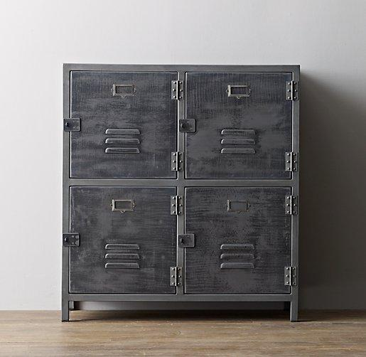 Vintage locker 3 door perforated grey cabinet for Metal lockers ikea
