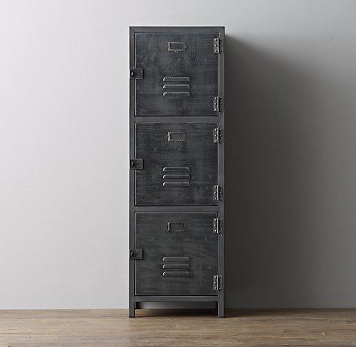 Vintage Locker 4 Door Grey Cabinet