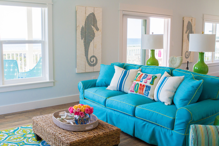 Turquoise Sofa Cottage Living Room Wendy Patrick Designs