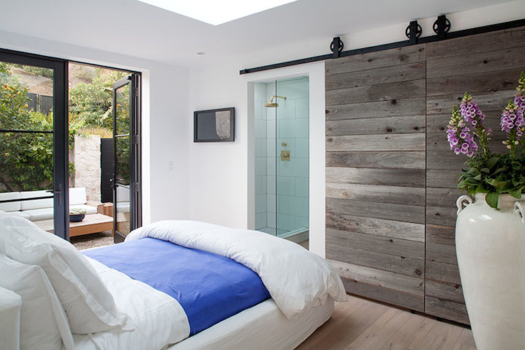 Planked Barn Doors - Cottage - bedroom - The Stone House Malibu