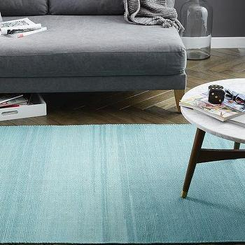 Recycled Rag Dhurrie Rug, Aquamarine, West Elm