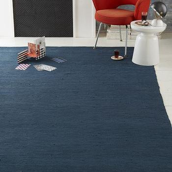 Recycled Rag Dhurrie Rug, Kingfisher Blue, West Elm