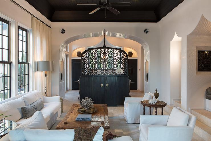 Black Tray Ceiling Mediterranean Living Room Alys Beach