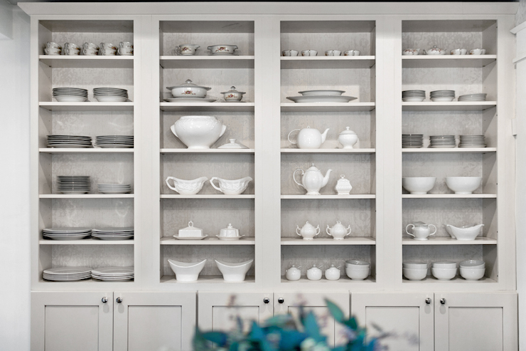 Dining Room Boasts Light Gray Built In China Cabinet Featuring Open Display  Shelves With Backs Of Shelves Lined With Gray Damask Wallpaper Stacked Over  ...