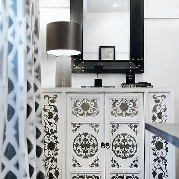 White Cabinet With Silver Nailhead Trim Transitional
