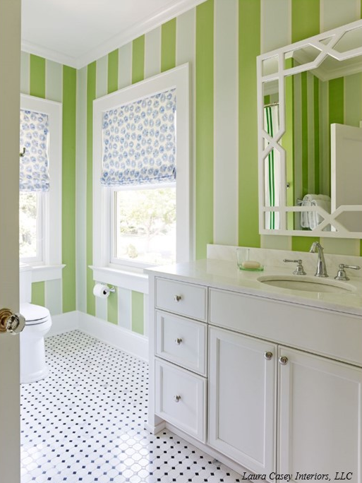 Bathroom Design Ideas With Stripes ~ Trellis mirror contemporary bathroom laura casey