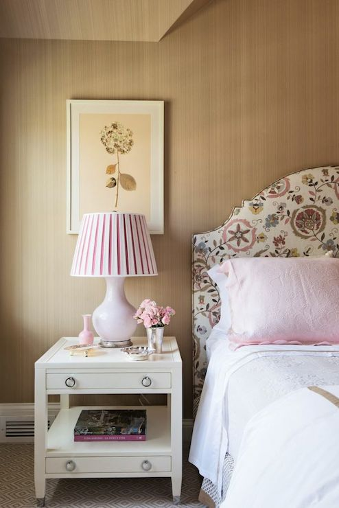 Pink Pleated Lamp Shade Transitional Bedroom Lindsey Coral Harper