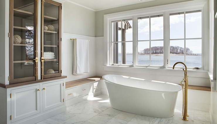 Exquisite Bathroom Features Gray Green Paint On Upper Walls And Beadboard  Trim On Lower Walls Framing L Shaped Built In Bench Doubling As Window Seat  Placed ...