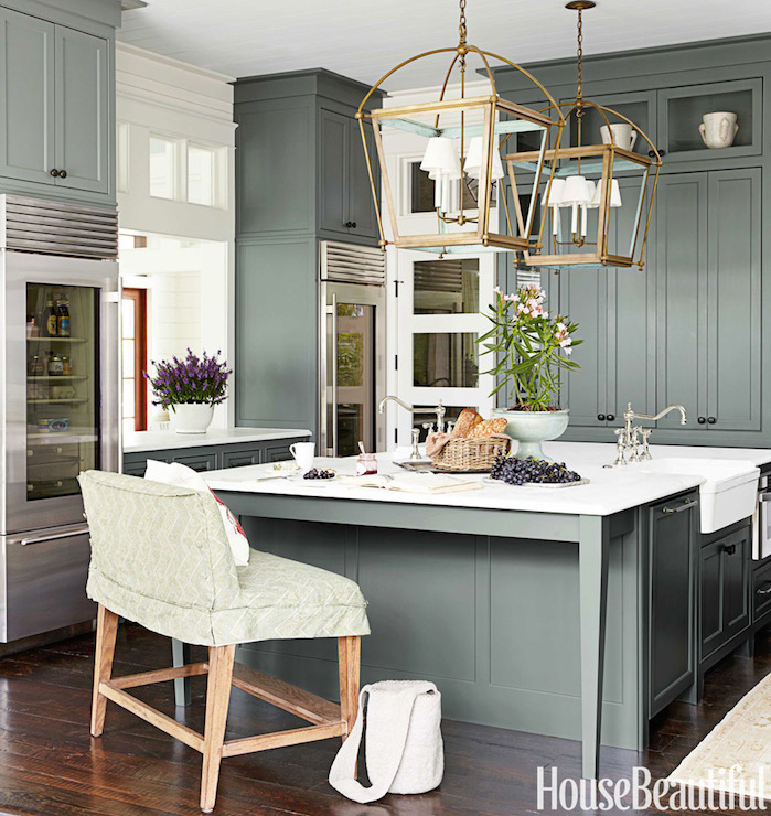 Green kitchen cabinets cottage kitchen sherwin for House beautiful kitchens
