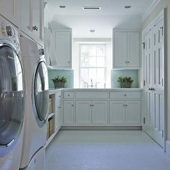White and Blue Laundry Rooms, Transitional, laundry room, Brooks & Falotico