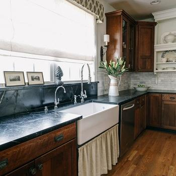 Skirted Farmhouse Sink View Full Size. Lovely Kitchen With Cherry Cabinets  Topped With ...