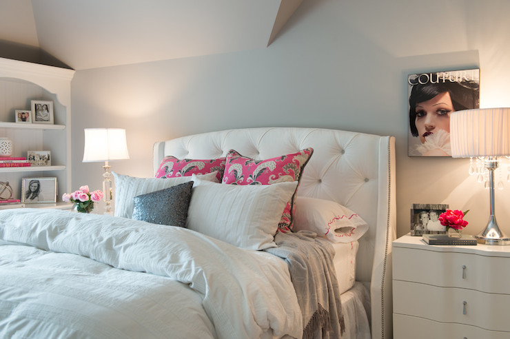White Bedroom With Pop Of Color white and grey bedrooms - transitional - bedroom - collected interiors