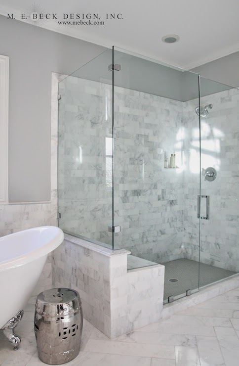Carrera Marble Shower Tiles Transitional Bathroom M