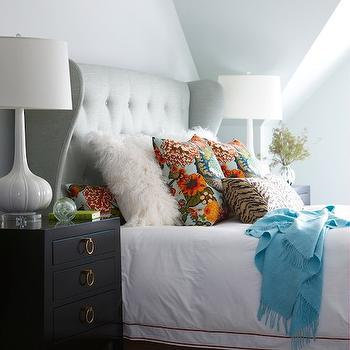 Gray Wingback Headboard, Contemporary, bedroom, Rachel Reider Interiors