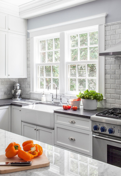 White Upper Cabinets And Gray Lower Cabinets With Gray