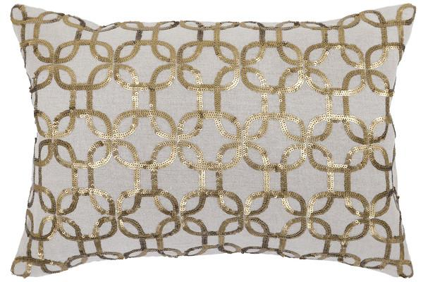 Callisto Home Eos Gold Sequin Embellished Cotton Pillow