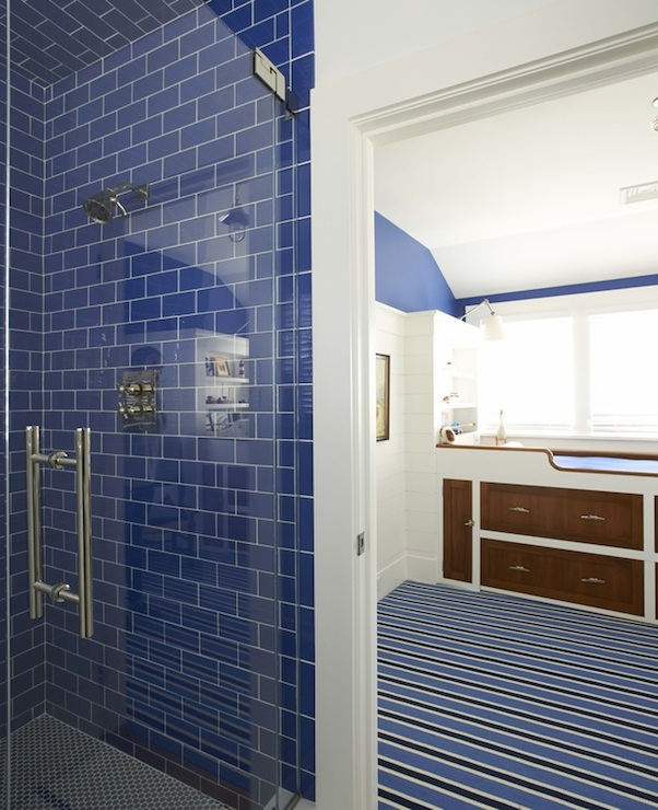 Blue subway tiles cottage bathroom lynn morgan design - Blue tiled bathroom pictures ...