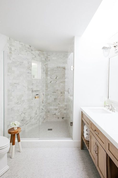 Shower With Stool Transitional Bathroom Amanda Teal