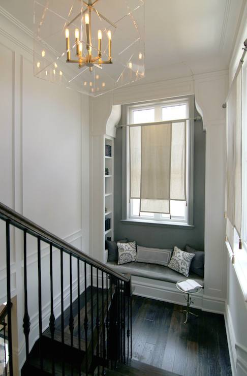 Landing window seat transitional entrance foyer for Foyer curtain ideas