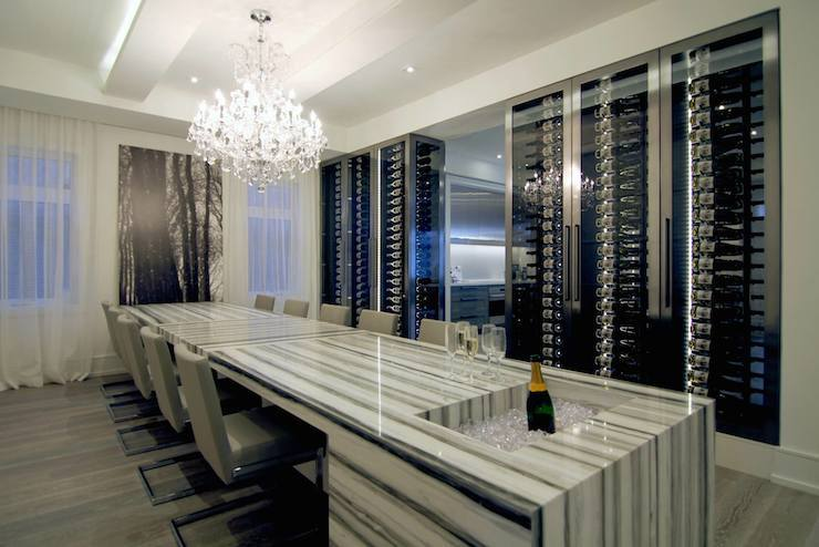 See Through Wine Coolers Contemporary Dining Room