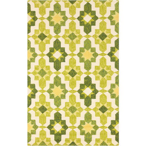 Storm Forest Retro Pattern Lemon Lime Rug