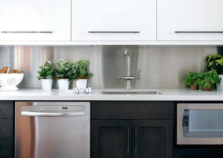 White Upper Cabinets Dark Lower Cabinets  Contemporary  kitchen