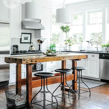 Salvaged Wood Island, Cottage, kitchen, Style at Home