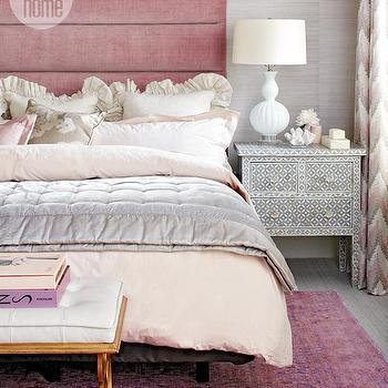 Pink Velvet Headboard, Contemporary, bedroom, Style at Home