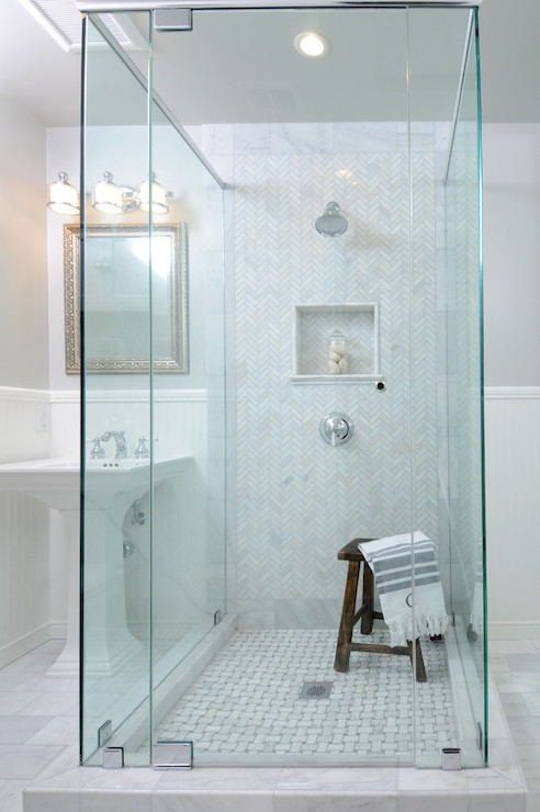 White And Gray Marble Herringbone Shower Floor