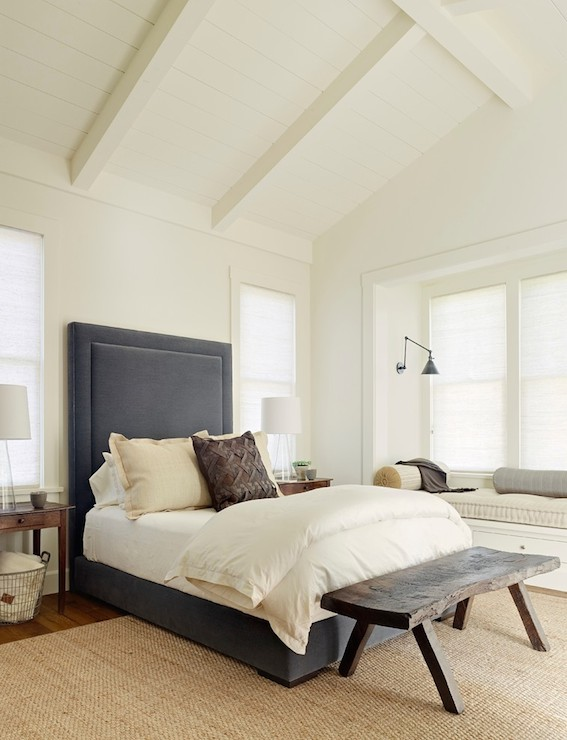 gray canopy bed - transitional - bedroom - kelly sutton