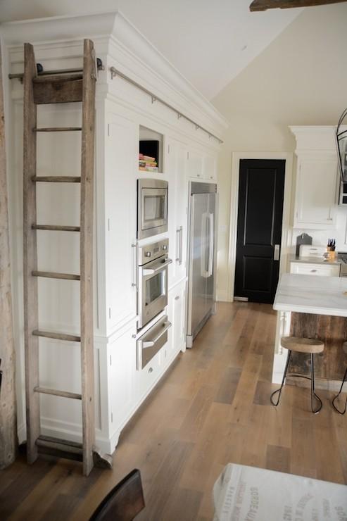 Kitchen Ladder On Rails Transitional Kitchen
