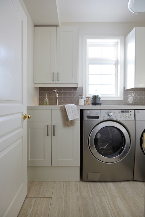 white flat front laundry room cabinets with dove gray