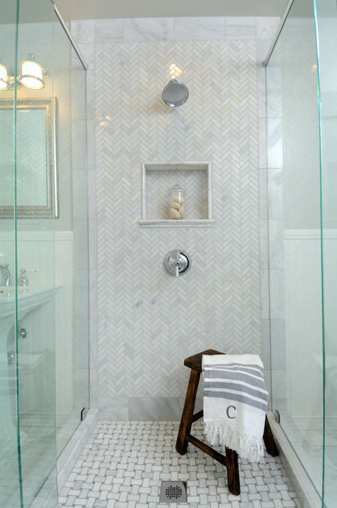 Polished Carrera Shower Tiles Transitional Bathroom Luxe Design Build