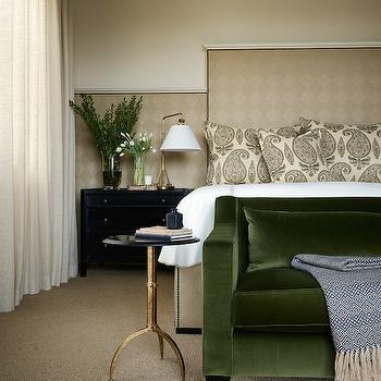 Green Velvet Sofa, Transitional, bedroom, Jennifer Robin Interiors