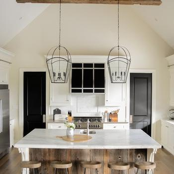 Barn Board Island, Transitional, kitchen, Benjamin Moore Gray Mist, LVZ Design