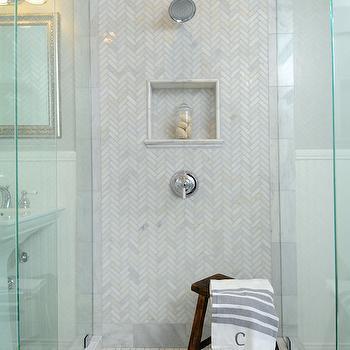 Polished Carrera Shower Tiles, Transitional, bathroom, Luxe Design Build