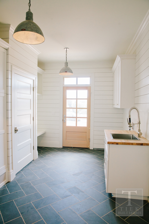 Slate herringbone floor contemporary laundry room Mudroom floor