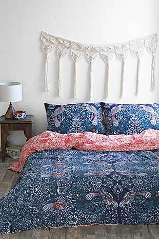 and bow mirrored love birds blue duvet cover