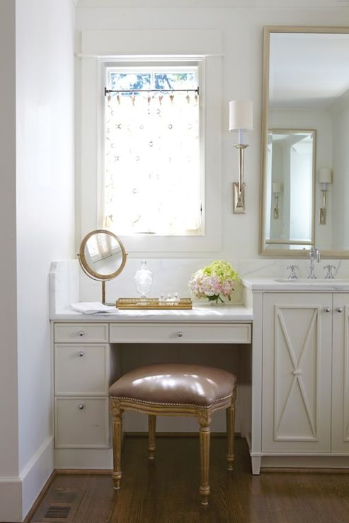 Built in makeup vanity transitional bathroom jan for Bathroom designs with dressing area